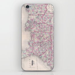 Vintage Map of The Southern United States (1868) iPhone Skin