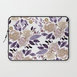 Abstract watercolor roses - ultra violet and beige Laptop Sleeve