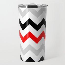 Chevron grey red black Travel Mug