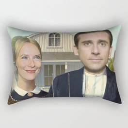 Michael and Holly from the The Office in American Gothic Rectangular Pillow