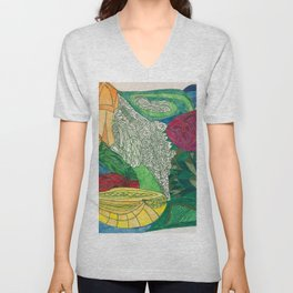 Fruit and Veggie Bowl with Rose Unisex V-Neck
