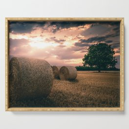 Hay Bales during a lovely sunet in Germany Serving Tray