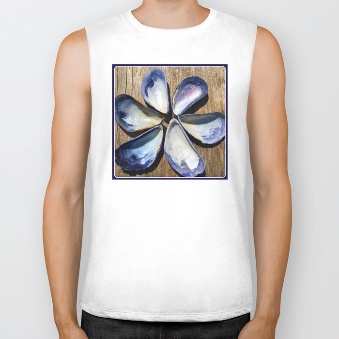Blue Sea Shells | Blue and White Shell Flower | Beach | Nadia Bonello Biker Tank