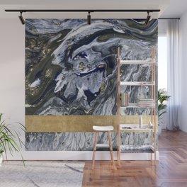 Midnight golden geometric marble Wall Mural