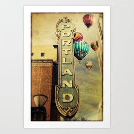 Whimsical Portland Oregon (Hot Air Balloon Ride) Art Print
