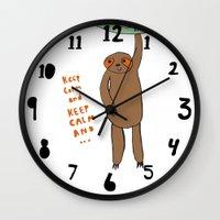 sloth Wall Clocks featuring Sloth by Lovisa Valentino
