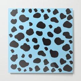 Animal Print (Cow Print), Cow Spots - Blue Black  Metal Print