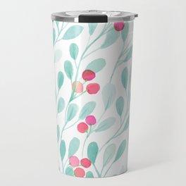 Watercolor Leaves Pattern Travel Mug