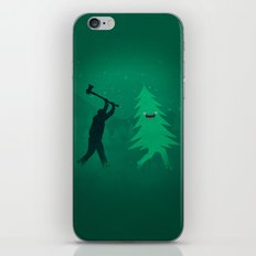 Funny Cartoon Christmas tree is chased by Lumberjack / Run Forrest, Run! iPhone & iPod Skin