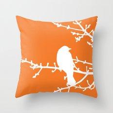 Orange Bird Throw Pillow