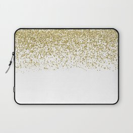 Sparkling gold glitter confetti on simple white background - Pattern Laptop Sleeve
