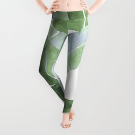 Tropical Leaves 2 Blue And Green Leggings
