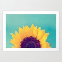 sunflower Art Prints featuring Sunflower by Debbie Wibowo