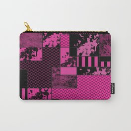 Pink And Black - Abstract, geometric, textured artwork Carry-All Pouch