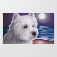 westie Area & Throw Rugs featuring White Westie Dog by ArtbyLucie