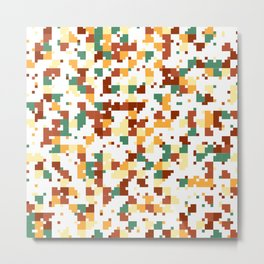 Waiting for Fall - Random Pixel Pattern in Green, Orange and Yellow Metal Print