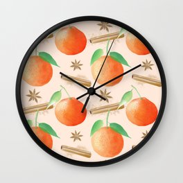 Tangerines and Cinnamon and Star Anise Watercolor Illustration and Pattern, Light Beige / Birch Background  Wall Clock