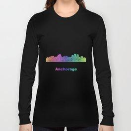 Rainbow Anchorage skyline Long Sleeve T-shirt