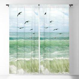 Birds flying above ocean Blackout Curtain