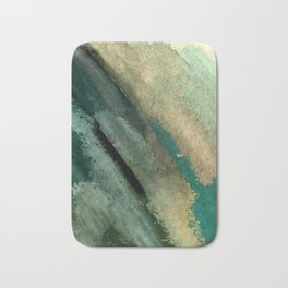 Green Thumb - an abstract mixed media piece in greens and blues Bath Mat