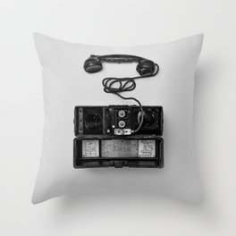 Antique Phone (Black and White) Throw Pillow