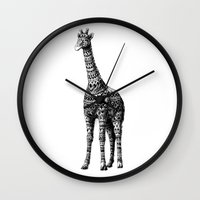 ornate Wall Clocks featuring Ornate Giraffe by BIOWORKZ