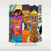 girl power Shower Curtains featuring Girl Power by N3RDS+INK