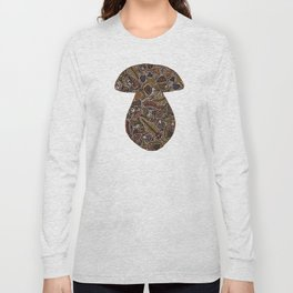 Funghi & Fern Forest, Fall Colors , Foraging for Woodland Mushrooms Brown, Orange Purple Long Sleeve T-shirt