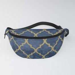 Classic Quatrefoil Lattice Pattern 428 Blue and Gold Fanny Pack