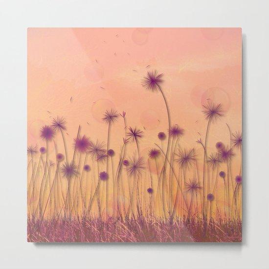 Dreamy Violet Dandelion Flower Garden Metal Print