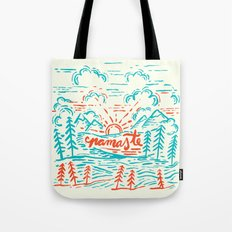 Namaste in Teal and Red Tote Bag
