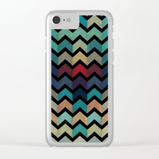 Colorful Chevron Pattern Clear iPhone Case