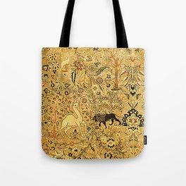 Antique Persian Tabriz Animal Rug Print Tote Bag