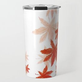 Falling red maple leaves watercolor painting Travel Mug