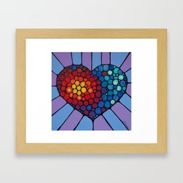 Love Conquers All - Colorful mosaic heart by Labor of Love artist Sharon Cummings. Framed Art Print
