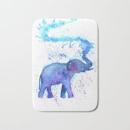 Silhouette Elephant Watercolor Bath Mat