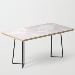 World map, highly detailed in dusty pink and white, square Coffee Table
