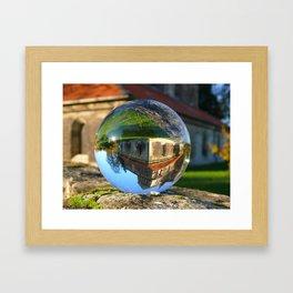 Church seen through glass ball Framed Art Print