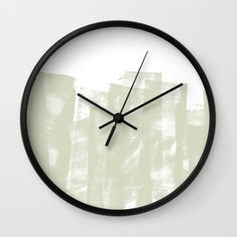 Rolled Ink Texture in Sage Green and White Wall Clock