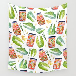 Kimchi Ingredients Spicy Fun Watercolor  Wall Tapestry