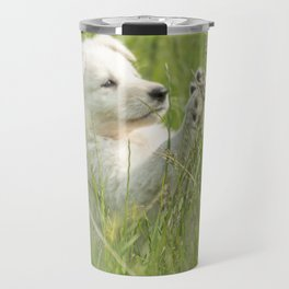 Stop, or I run away, the little puppy is having fun Travel Mug