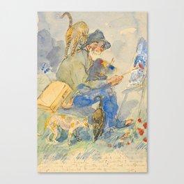 """Théophile Steinlen  """"Autoportrait aux chats"""" Canvas Print"""