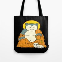 snorlax Tote Bags featuring Snorlax by Yamilett Pimentel
