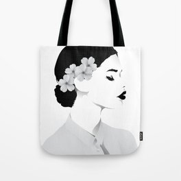 a lady (white shirt ) Tote Bag