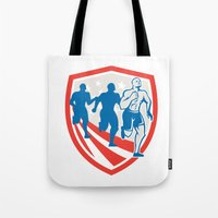 crossfit Tote Bags featuring American Crossfit Runners USA Flag Retro  by patrimonio