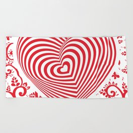 red white heart on red floral ornament background. Optical illusion of 3D Beach Towel