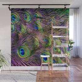 art nouveau bohemian turquoise purple teal green peacock feather Wall Mural