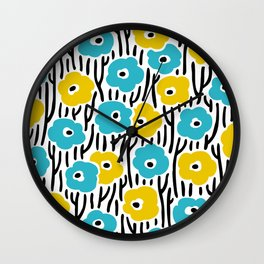 Mid Century Modern Wild Flowers Pattern Turquoise and Yellow Wall Clock