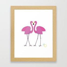 Flamingos in love Framed Art Print
