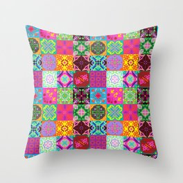Bohemian Jungle Quilt Tiles Throw Pillow